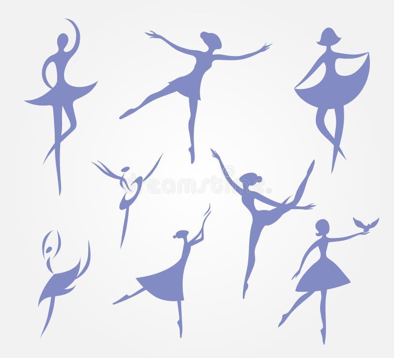Åtta konturer av balettdansörer i balettklänningar ställde in vektorn stock illustrationer