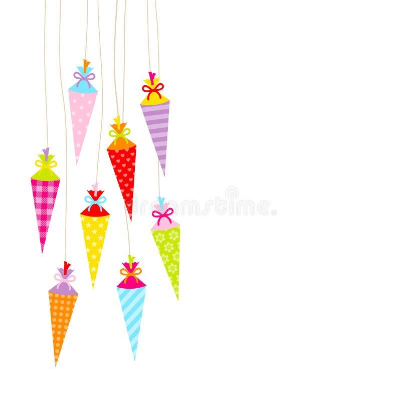 Åtta lämnade hängande färgrika skolakottar med modellen stock illustrationer