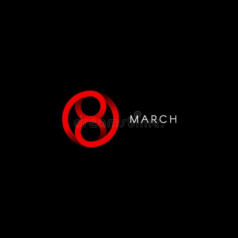Åtta marsch, lyckliga internationella kvinnors dag, abstrakt minsta vektorlogomall på svart bakgrund royaltyfri illustrationer