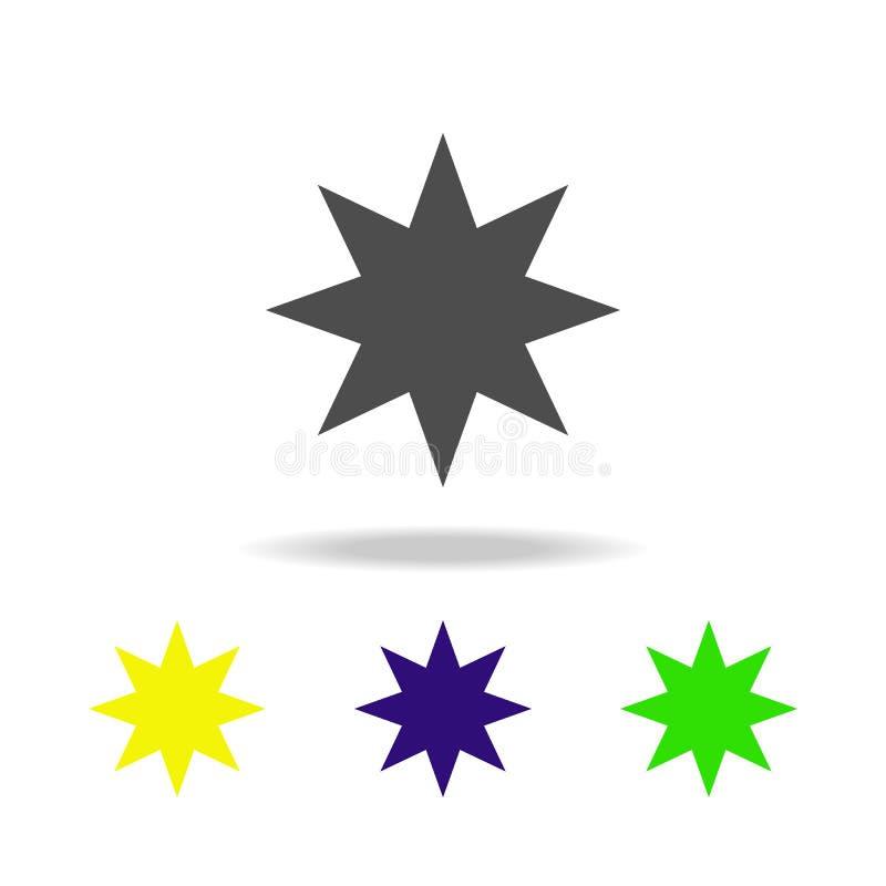 åtta-pekad flerfärgad symbol för stjärna Beståndsdel av rengöringsduksymboler Tecken och symbolsymbol för websites, rengöringsduk vektor illustrationer