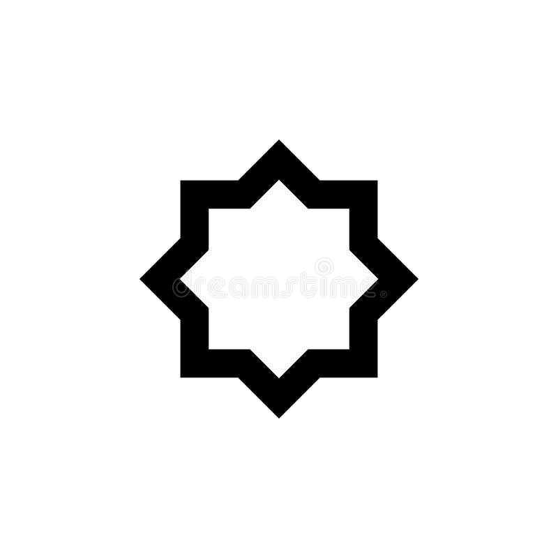 Åtta-pekad stjärnasymbol Beståndsdel av den religiösa kultursymbolen Högvärdig kvalitets- symbol för grafisk design Tecken översi royaltyfri illustrationer