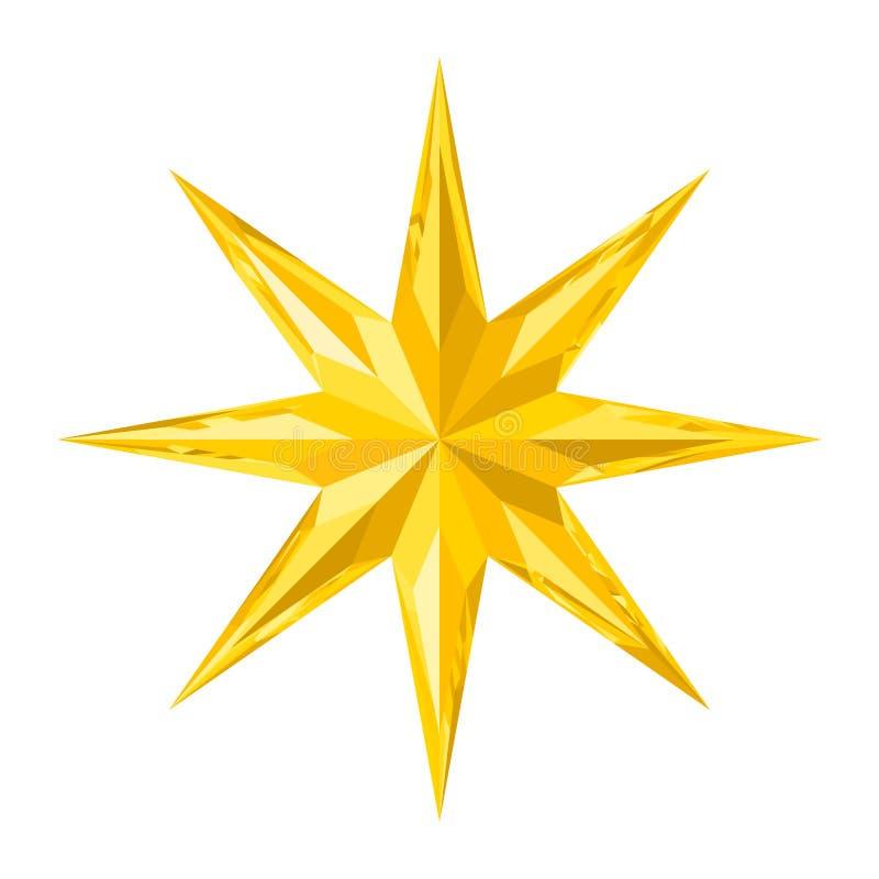 Åtta-pekat härligt fasetterade den skinande guld- kristallstjärnan vektor illustrationer