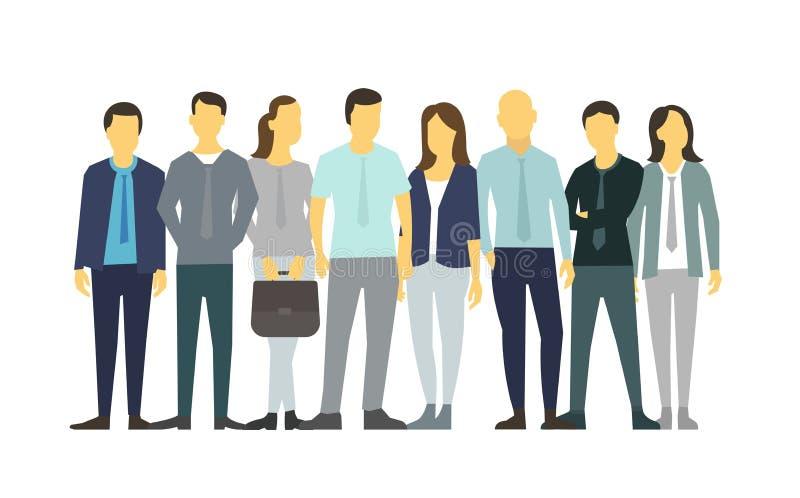 Åtta personer i linjen gruppfolk stock illustrationer