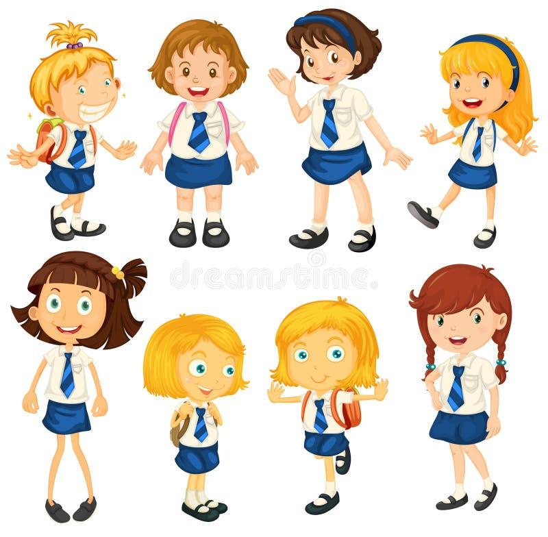 Åtta skolflickor i deras likformig vektor illustrationer