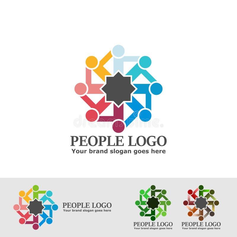 Åttahörnig logo för folk vektor illustrationer