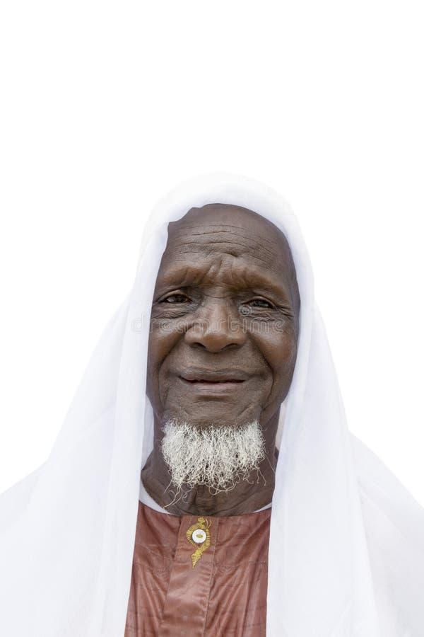 Åttio-år-gammal afrikansk man som är klar att fira, isolerat arkivfoto