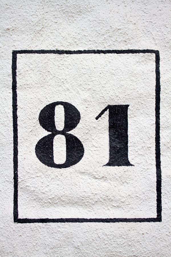 Åttio en - gatanummer arkivbild