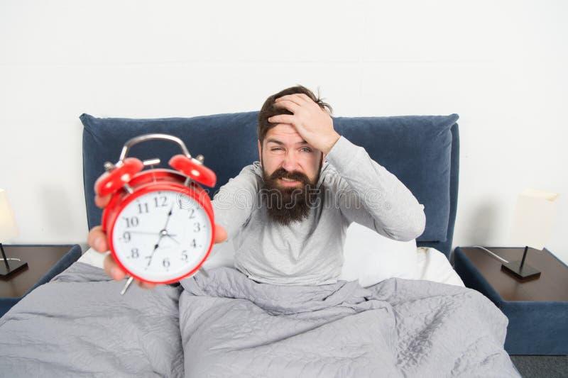 恨这噪声 问题的唤醒的清早 早早起来 早早醒的技巧 人有胡子的行家 免版税库存照片