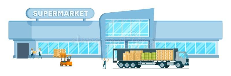 提供重量的快速的仓库卡车到购物中心 皇族释放例证