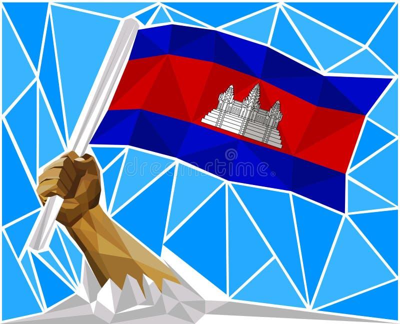 提出柬埔寨的国旗的爱国强有力的人胳膊 皇族释放例证
