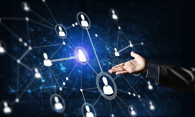 提出现代无线技术作为communucation和网络手段在黑暗的背景 库存例证
