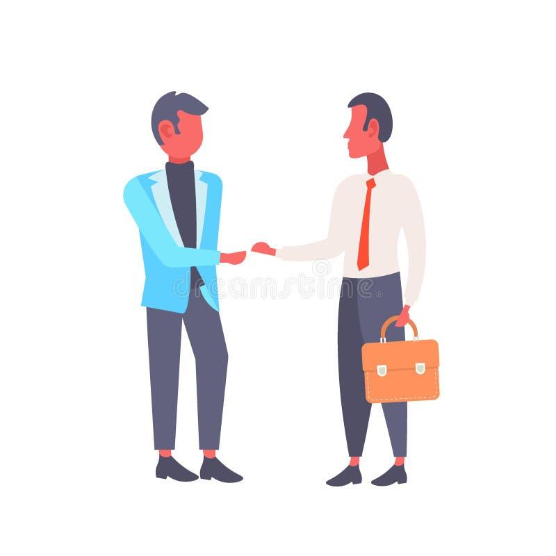 握手商人握手协议概念成功的合作公卡通人物的两个商人 向量例证