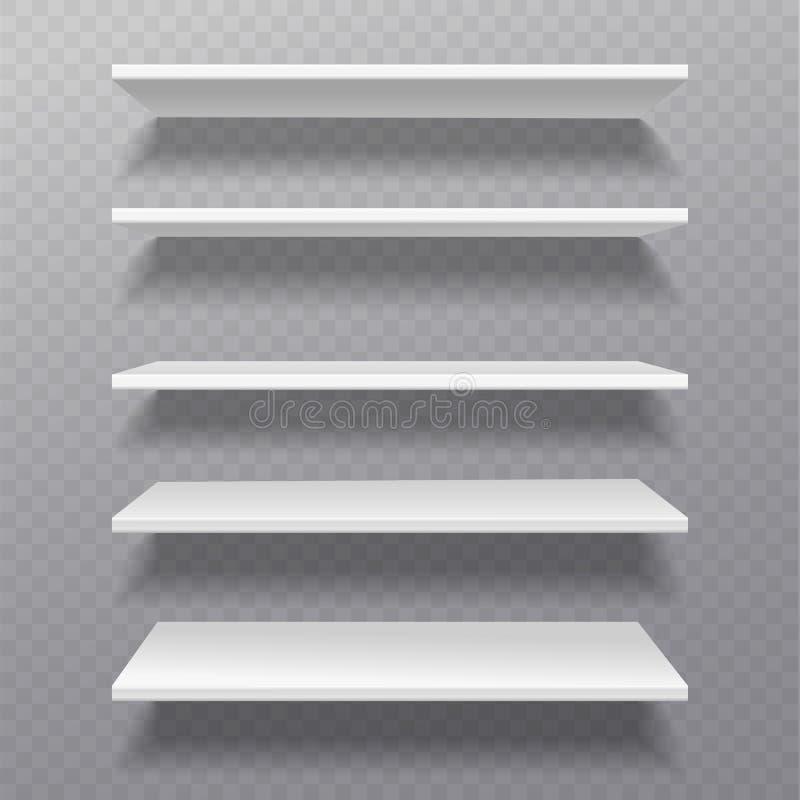 搁置白色 零售机架bibliotheque架子箱子空白搁置在墙壁家具集合的空的书架商店书橱 向量例证