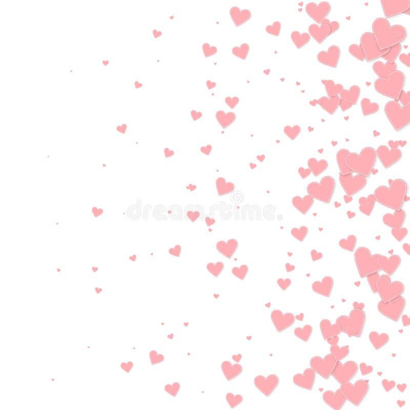 桃红色心脏爱五彩纸屑 情人节gradien 皇族释放例证