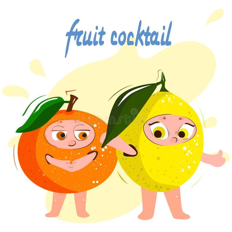 桔子,柠檬,柑橘 用不同的面孔的滑稽的动画片果子 向量例证