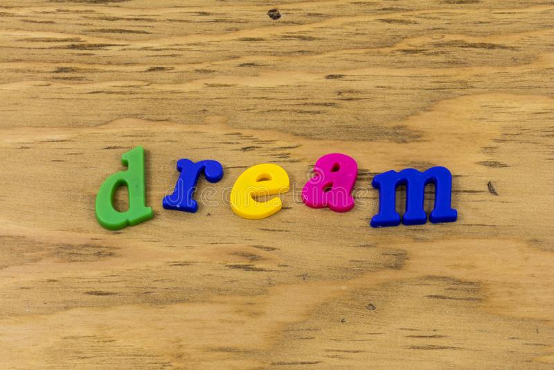梦想梦想家标志漫步冒险享用塑料 免版税库存照片