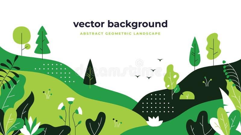 梯度植物风景 最小的舱内甲板离开设计,颜色渐进性动画片背景,森林植物 花卉自然 向量例证