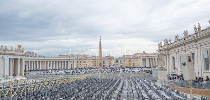 梵蒂冈,罗马,意大利- 2019年2月23日:风景视图梵蒂冈广场 免版税库存照片