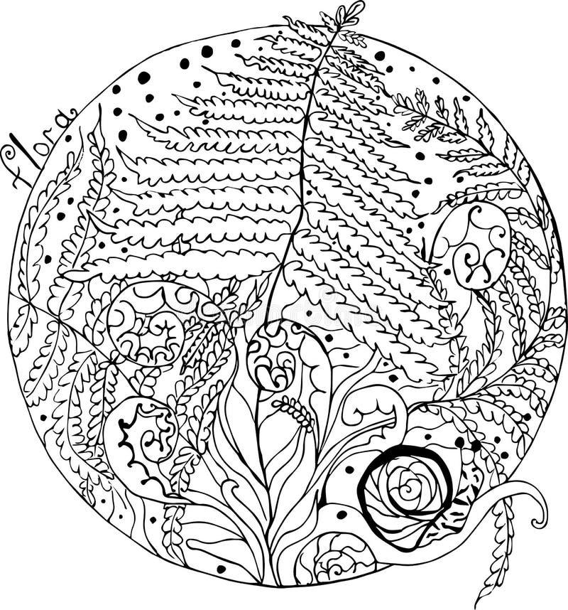 森林的着色、蕨和蜗牛 库存例证
