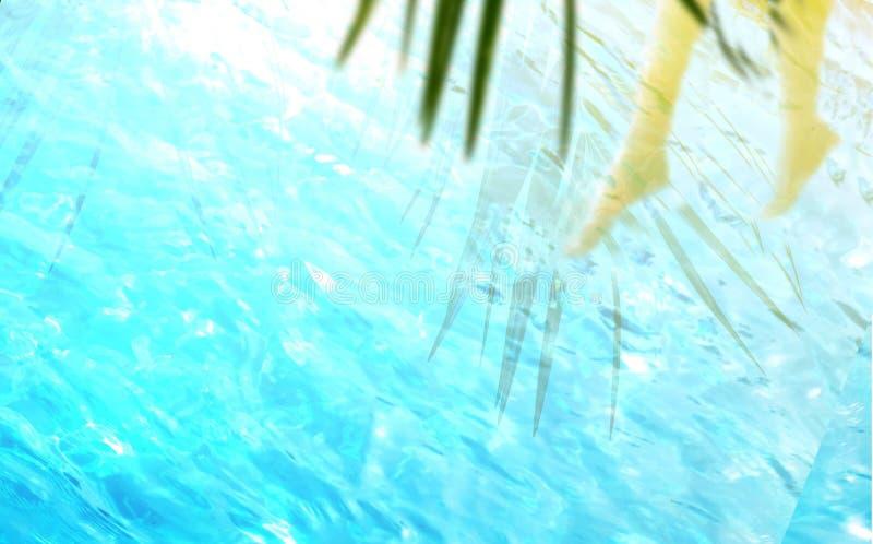 棕榈叶阴影和腿剪影在蓝色透明水中 免版税库存图片