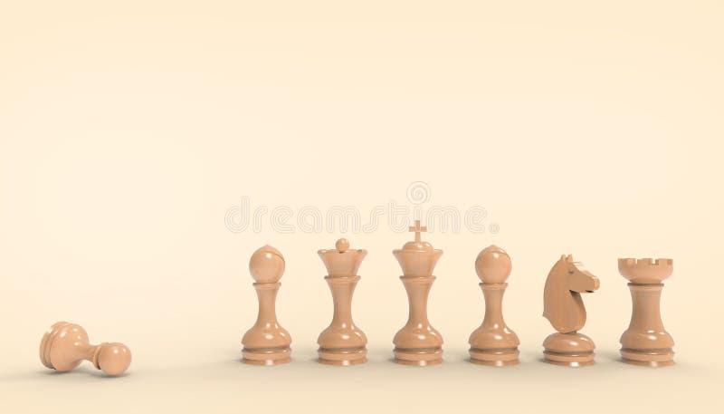 棋盘比赛和战略想法概念事务未来派在淡色橘黄色背景 皇族释放例证