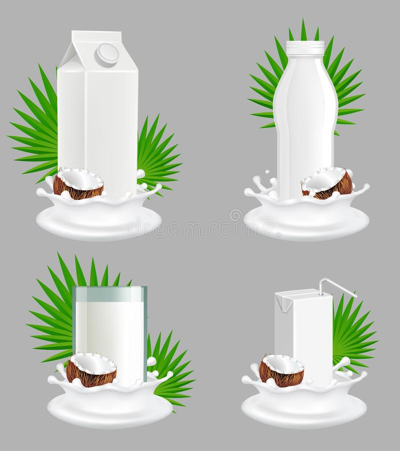 椰奶包裹传染媒介现实大模型集合 库存例证
