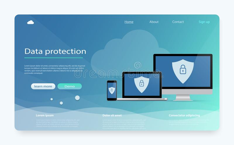 概念是数据保密 数据保护,保密性,互联网安全 安全机密资料 向量例证