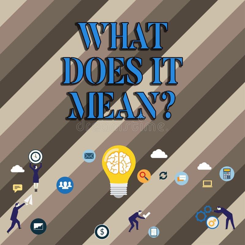 概念性手文字显示什么做它Meanquestion 企业照片陈列的混乱求知欲问 向量例证
