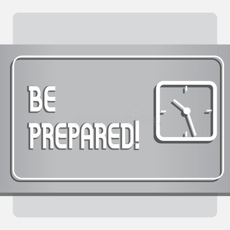 概念性手文字显示准备 企业照片文本逗留准备愿采取机会准备 库存例证