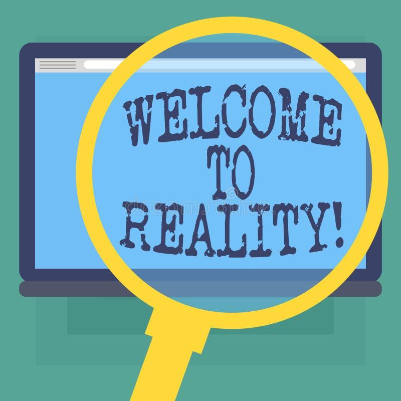 概念性手文字陈列欢迎到现实 企业照片文本状态事他们实际上存在作为被反对的理想主义 库存例证