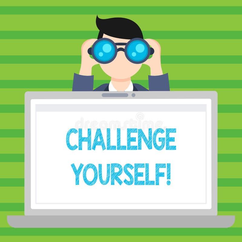 概念性手文字陈列挑战  企业照片文本克服信心强的鼓励改善胆敢 向量例证
