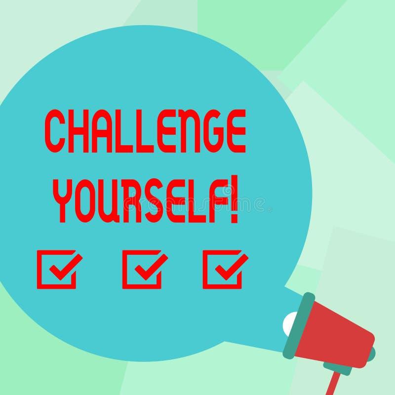 概念性手文字陈列挑战  企业照片文本被克服的信心强的鼓励 向量例证