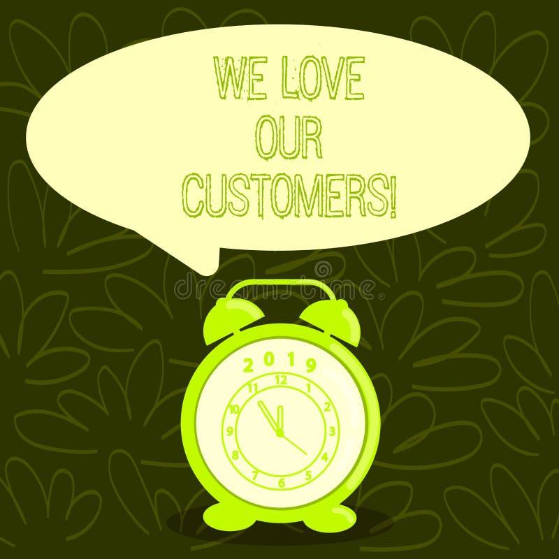 概念性手文字陈列我们爱我们的顾客 企业照片陈列的客户需要好服务 库存例证