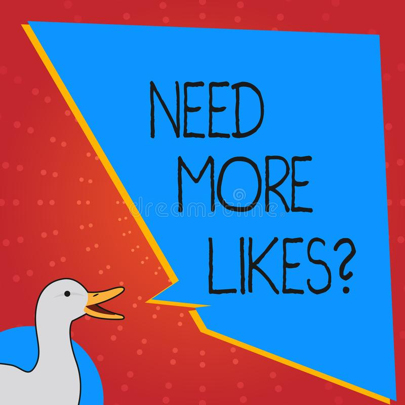 概念性手文字陈列需要更多Likesquestion 企业照片文本改进伸手可及的距离广告营销SEO行销 向量例证