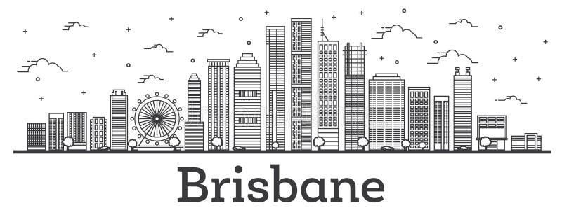 概述布里斯班澳大利亚与在白色隔绝的现代大厦的市地平线 向量例证