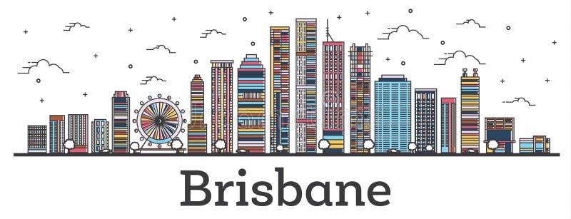 概述布里斯班澳大利亚与在白色隔绝的颜色大厦的市地平线 库存例证