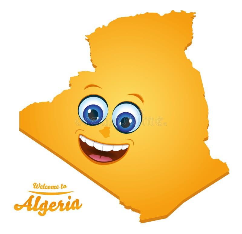 欢迎到阿尔及利亚兴高采烈的地图 皇族释放例证