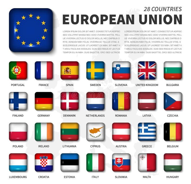 欧盟欧盟和会员资格旗子 28个国家的协会 周角发光的方形的按钮和欧洲地图 库存例证
