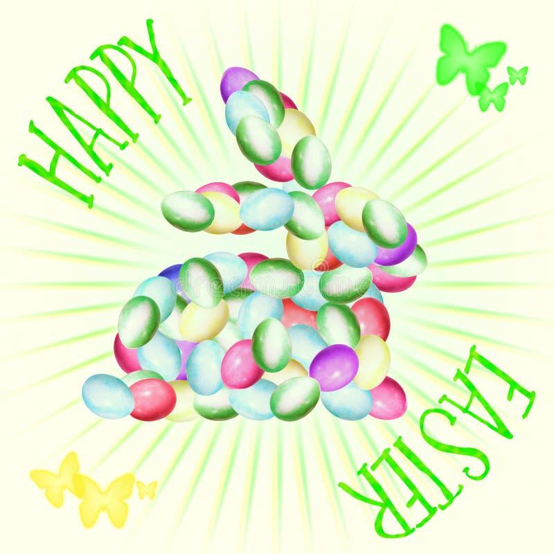 正方形复活节贺卡、兔宝宝形状用复活节彩蛋和文本复活节快乐 库存照片
