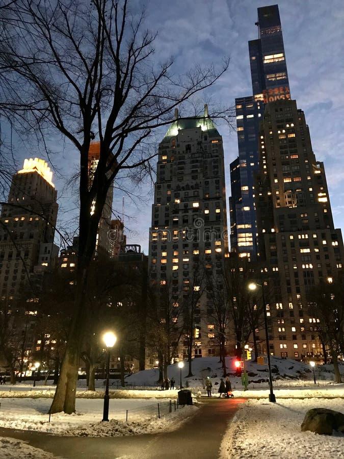 步行步行在反对曼哈顿摩天大楼背景的纽约的中央公园在晚上在冬天 库存照片