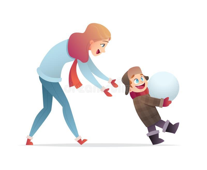 母亲和儿子乐趣冬天步行的 妈妈和婴孩使用与雪 妇女和孩子一起花费时间 皇族释放例证