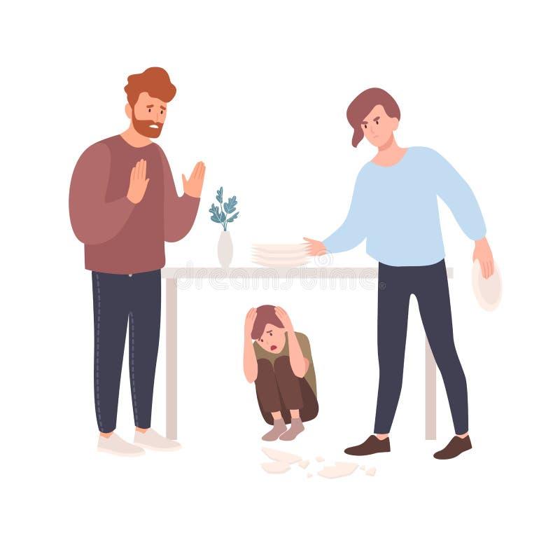 母亲和父亲争吵或争吵在掩藏在桌下的孩子存在 呼喊在彼此的父母 皇族释放例证