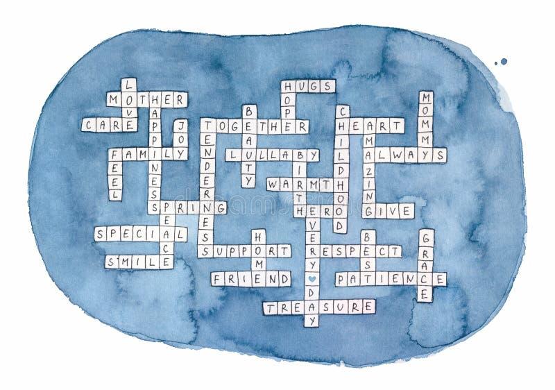 母亲节纵横填字游戏水彩 库存例证
