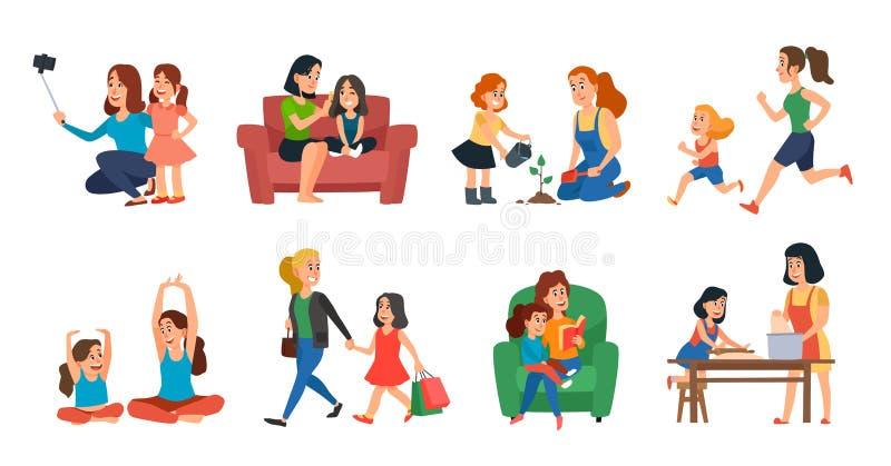 母性概念 母亲和女儿家庭帮助,使用或拥抱 母亲节动画片传染媒介例证集合 皇族释放例证
