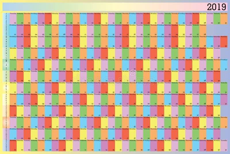 每年星期的每天的计划者2019具体颜色 皇族释放例证