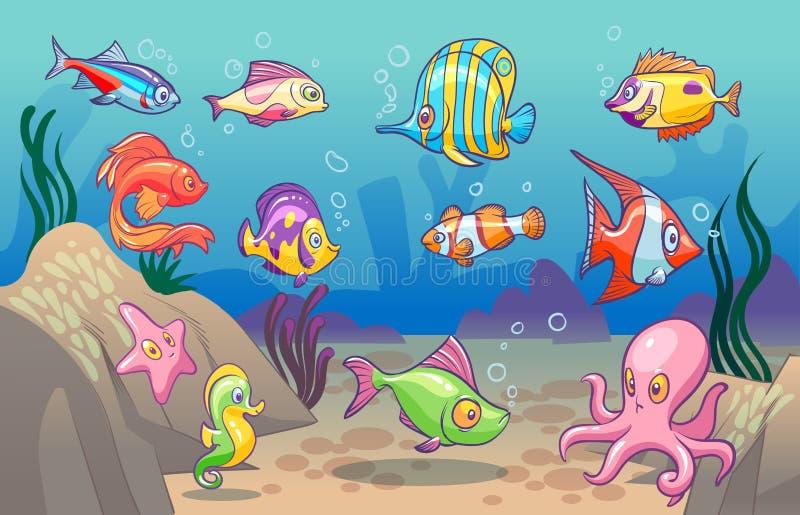 水下的场面 逗人喜爱的海热带鱼海洋水中动物 与珊瑚海草孩子概念的海里的底部 向量例证