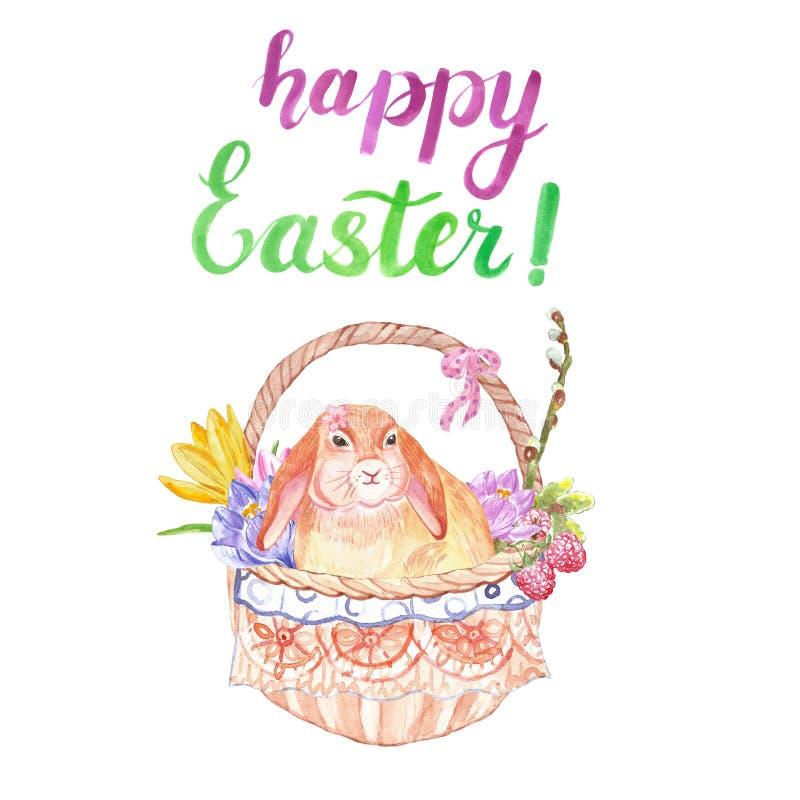水彩在篮子的复活节兔子,隔绝在白色背景 手画复活节卡片 皇族释放例证