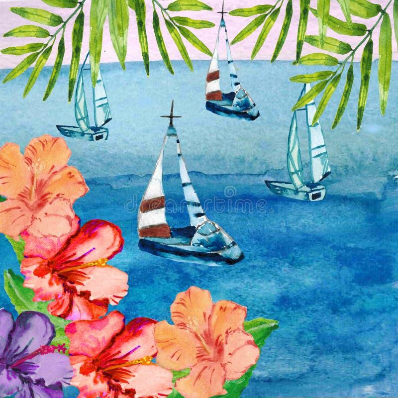 水彩海景和五颜六色的花例证设计婚姻的邀请的 皇族释放例证