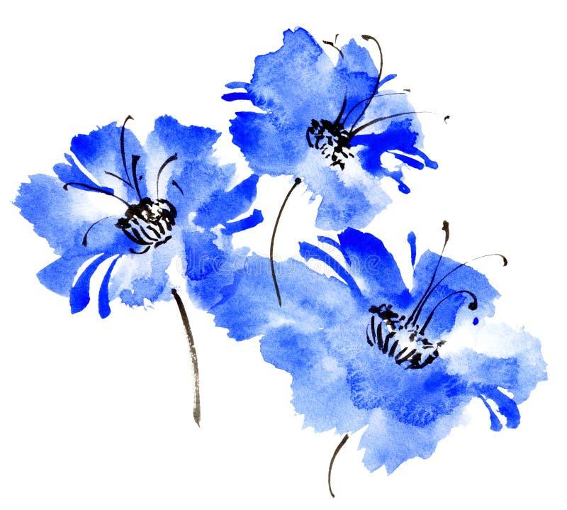 水彩绘了蓝色花花束 皇族释放例证