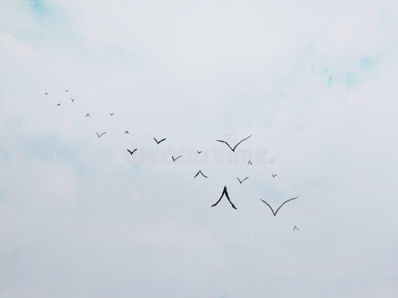 水彩绘画风景在天空蔚蓝的鸟飞行与云彩 对背景 向量例证